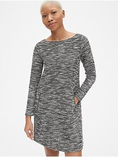 Long Sleeve A-Line Dress with Zip-Pockets in Boucle