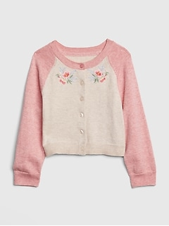 Embroidered Raglan Cardigan Sweater