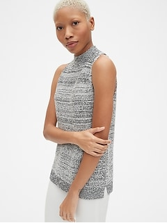 Textured Sleeveless Mockneck Sweater
