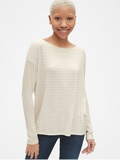 Softspun Mix-Fabric Long Sleeve Stripe Top