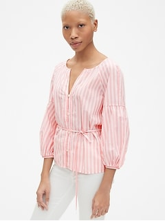 Balloon Sleeve Stripe Button-Front Blouse in Poplin