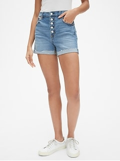 "High Rise 4"" Button-Fly Denim Shorts"