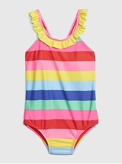 Rainbow Stripe Ruffle Swim One-Piece