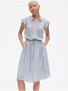Flutter Sleeve Midi Shirtdress