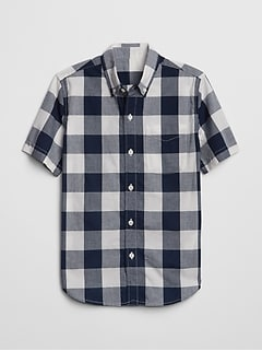 Poplin Plaid Short Sleeve Shirt