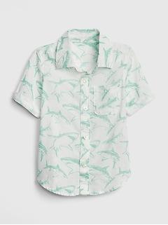 Toddler Print Short Sleeve Shirt In Linen