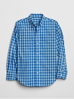 Poplin Plaid Long Sleeve Shirt
