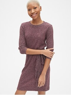 Softspun Ribbed Long Sleeve Tie-Waist Dress