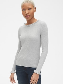 Ribbed Ruffle-Trim Crewneck Pullover Sweater