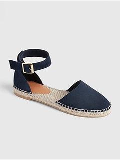 Ankle-Strap Flat Espadrilles in Suede