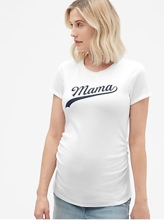 Maternity Short Sleeve Graphic Crewneck T-Shirt