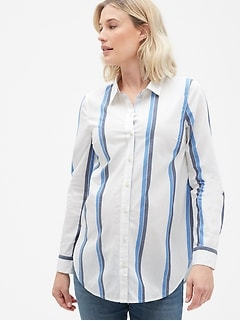 Maternity Tailored Stripe Shirt in Poplin