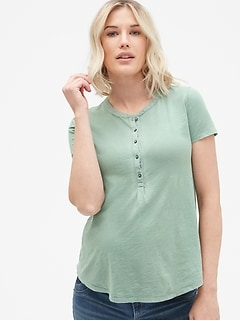 Maternity Short Sleeve Henley T-Shirt in Slub Cotton