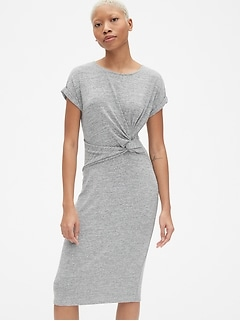 Softspun Short Sleeve Twist-Knot Midi Dress