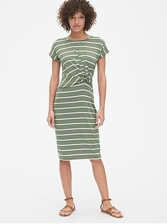 Softspun Stripe Short Sleeve Twist-Knot Midi Dress