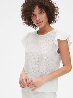 Eyelet Embroidered Flutter Sleeve Top