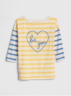 Kids Stripe Graphic Three-Quarter Sleeve T-Shirt