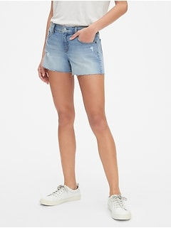 "Mid Rise 3"" Denim Shorts with Distressed Detail"