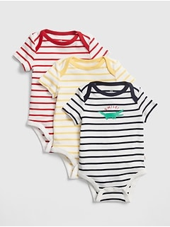 Baby Stripe Graphic Short Sleeve Bodysuit (3-Pack)