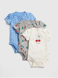 Baby Cherry Short Sleeve Bodysuit (3-Pack)
