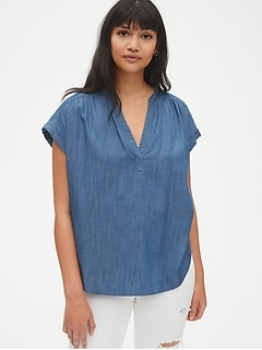 Short Sleeve Popover Shirt in TENCEL™
