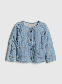 Toddler Floral Print Denim Quilted Jacket