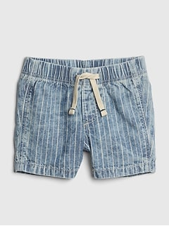 Pull-On Denim Shorts in Color