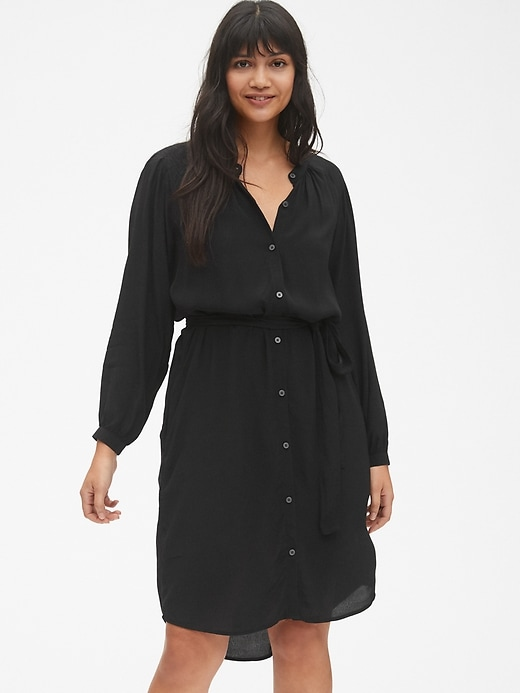 Perfect Long Sleeve Pleated Tie-Waist Shirtdress