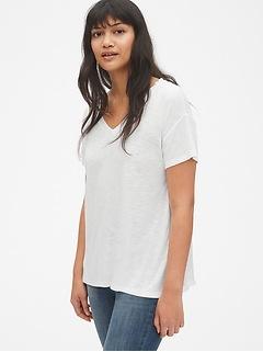 Mix-Fabric Short Sleeve V-Neck T-Shirt