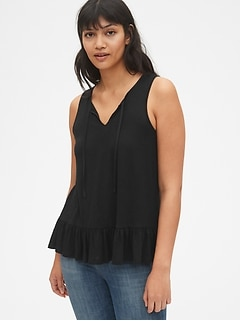 Soft Slub Peplum Split-Neck Tank Top