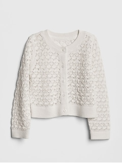 Toddler Pointelle Cardigan Crop Sweater
