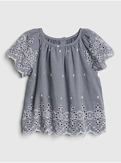Toddler Eyelet Chambray Top
