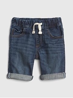 Distressed Roll-Up Denim Shorts