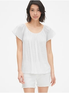 Mix-Fabric Flutter Sleeve Top
