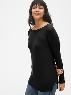 True Soft Mix-Stitch Boatneck Pullover Sweater