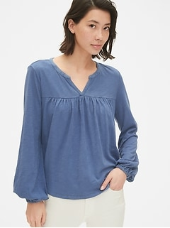 Long Sleeve Smock Top in Slub Cotton