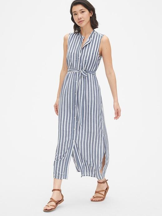 Perfect Sleeveless Stripe Maxi Shirt Dress by Gap