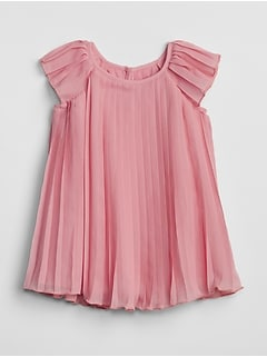 Pleated Flutter Dress In Chiffon