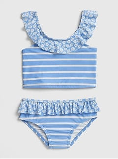 Ruffle Stripe Swim Two-Piece