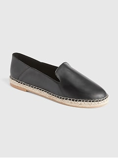 Leather Loafer Espadrilles with Collapsible Back