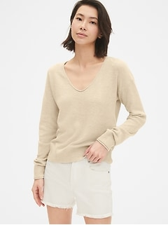 Textured V-Neck Pullover Sweater