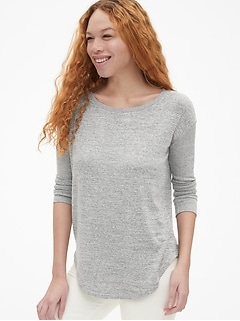Softspun Mix-Fabric Long Sleeve Tunic Top