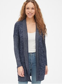 Softspun Mix-Fabric Longline Open-Front Cardigan
