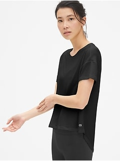 GapFit Breathe Short Sleeve Hi-Lo Hem T-Shirt