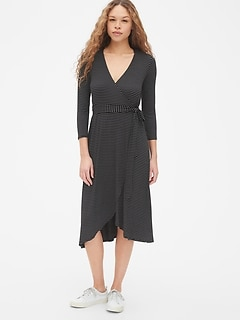 Three-Quarter Sleeve Knit Midi Wrap Dress