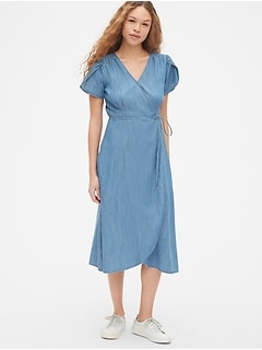 Short Sleeve Midi Wrap Dress in TENCEL&#153