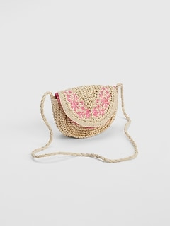 Straw Floral Crossbody Bag