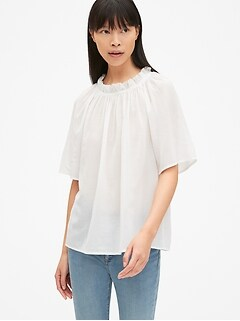 Short Sleeve Ruffle-Neck Blouse