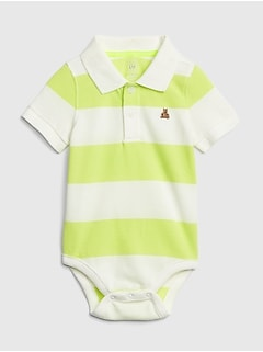 Baby Stripe Short Sleeve Polo Bodysuit