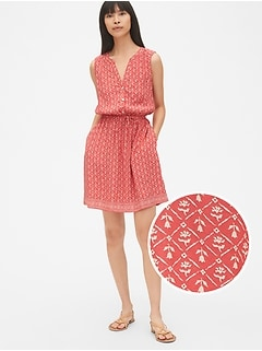 Sleeveless Tie-Waist Shirtdress
